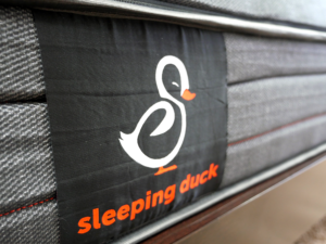 Close up of the side panel Sleeping Duck logo
