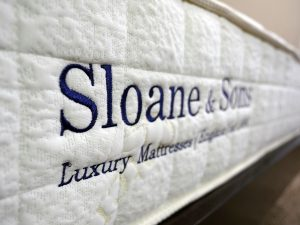 Ultra close up shot of the Sloane & Sons logo